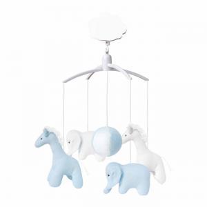 Trousselier - VM1149 02 - Mobile Musical Girafe, Elephant Celadon & Blanc (184321)