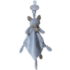 Dimpel - 822198 - Cléo doudou chat attache-tétine - bleu et beige-gris (199757)