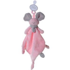 Dimpel - 822354 - Doudou souris attache-tétine Mona rose & gris clair (199841)