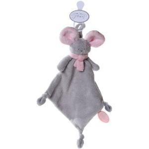 Dimpel - 822393 - Mona doudou souris attache-tétine - gris-clair et rose (199847)