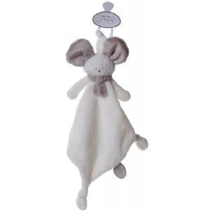 Dimpel - 822588 - Mona doudou souris attache-tétine - blanc et beige-gris (199865)