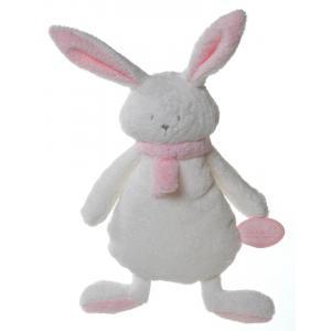 Dimpel - 822640 - Nina doudou plat lapin - blanc et rose (199877)