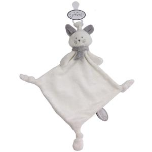 Dimpel - 822120 - Doudou chat attache-tétine Cleo blanc et gris clair (225146)
