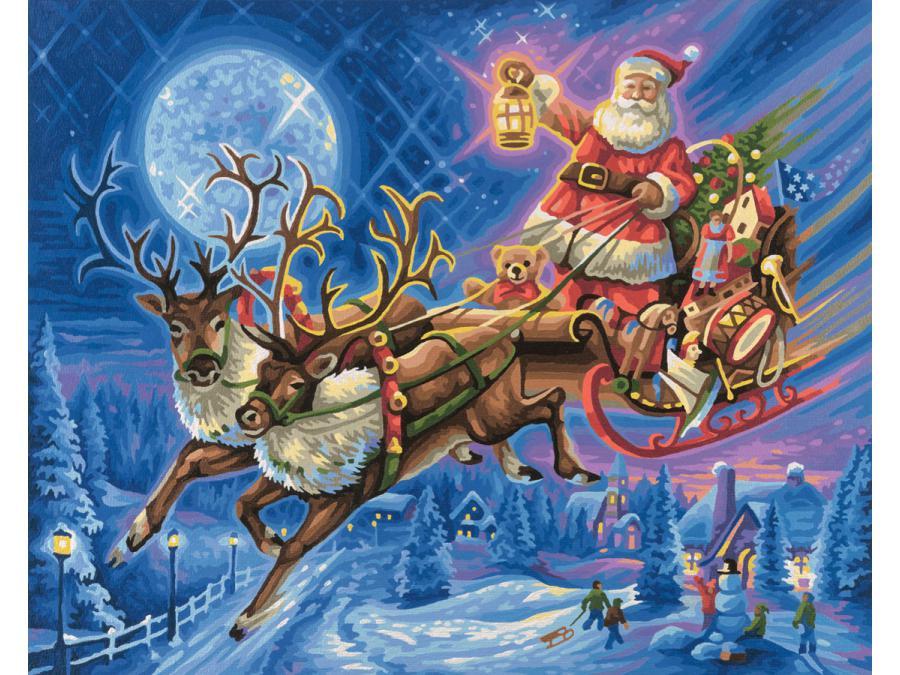 Image Du Pere Noel Sur Son Traineau.Schipper Peinture Aux Numeros Le Pere Noel Et Son