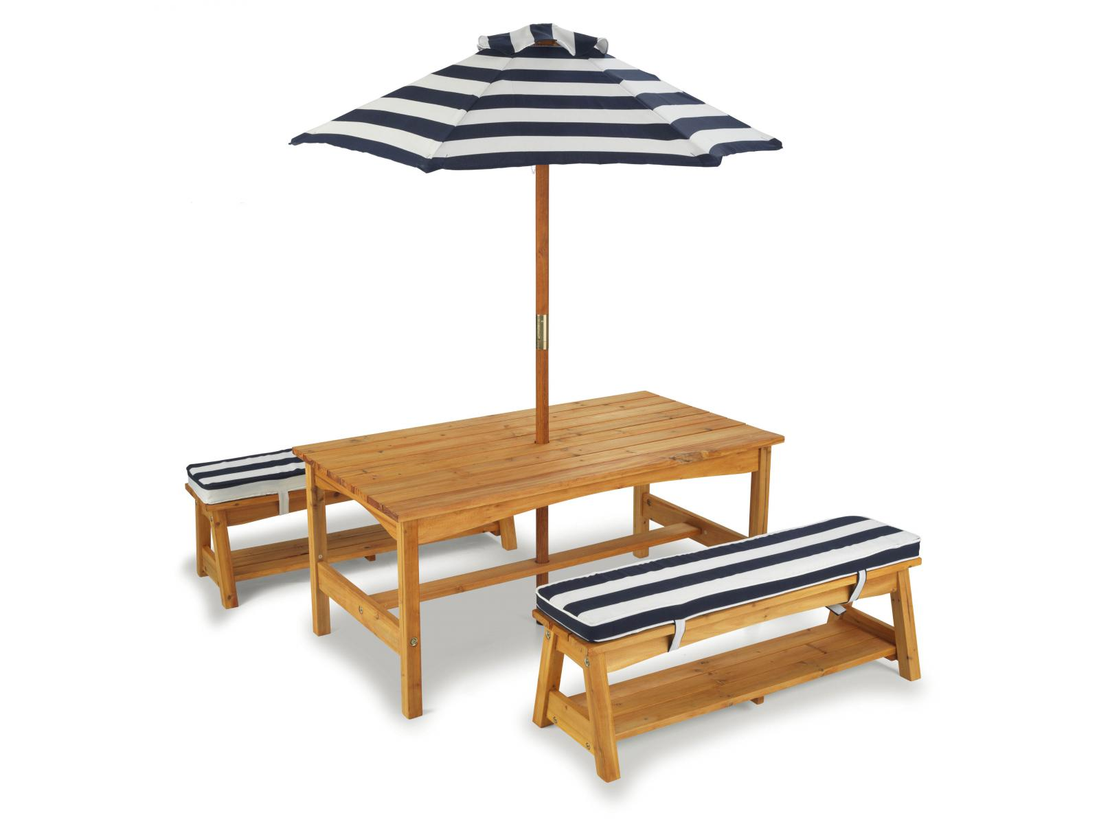 Kidkraft ensemble table et bancs rembourr s d 39 ext rieur avec parasol - Table d activite exterieur ...