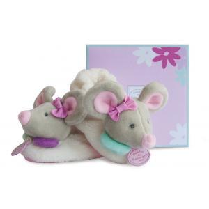 Doudou et compagnie - DC2977 - Souris pearly - chaussons avec hochet - boîte cadeau (305738)