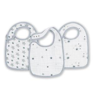 Aden and Anais - 7106G - BAVOIR GOUTER - twinkle - étoiles grises-lot de 3 (308834)