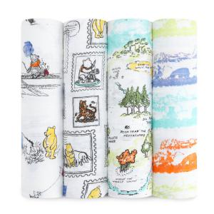 Aden and Anais - DISN100G - MAXI-LANGE lot de 4 - Winnie l'Ourson -120x120cm (322324)