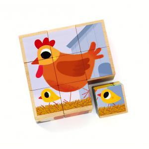 Djeco - DJ01950 - Cubes puzzles bois -  PiouPiou & Cie (331110)