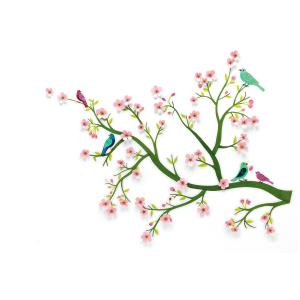 Djeco - DD05001 - Stickers muraux moyens - Cerisier en fleurs 3D (332398)