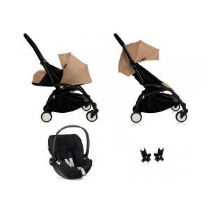 Babyzen - BU062 - Nouvelle poussette Babyzen Yoyo plus complète cadre noir habillages 0+ et 6+ taupe et siège auto Babyzen Besafe noir (339460)