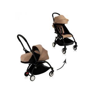Babyzen - BU062 - Poussette Yoyo+ complète cadre  noir habillages 0+ et 6+ taupe et siège auto CLOUD Z I-SIZE (339460)