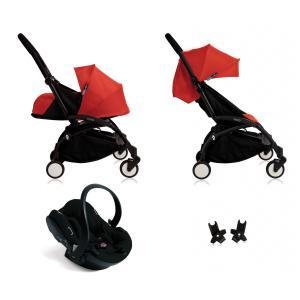 Babyzen - BU060 - Poussette Yoyo+ complète cadre  noir habillages 0+ et 6+ rouge et siège auto iZi Go Modular noir (339464)