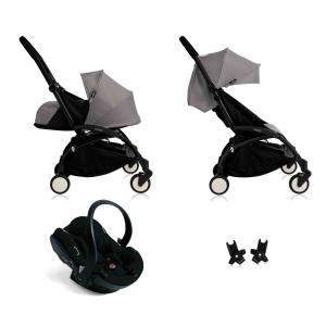 Babyzen - BU059 - Nouvelle poussette Babyzen Yoyo plus complète cadre noir habillages 0+ et 6+ gris et siège auto Babyzen Besafe noir (339466)
