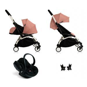 Babyzen - BU056 - Poussette Yoyo+ complète cadre  blanc habillages 0+ et 6+ ginger et siège auto iZi Go Modular noir (339472)