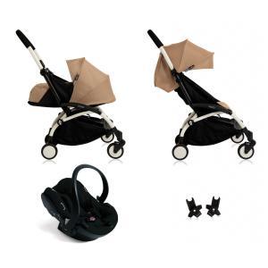 Babyzen - BU054 - Nouvelle poussette Babyzen Yoyo plus complète cadre blanc habillages 0+ et 6+ taupe et siège auto Babyzen Besafe noir (339474)