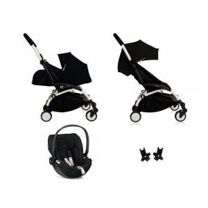 Babyzen - BU053 - Poussette Yoyo+ complète cadre  blanc habillages 0+ et 6+ noir et siège auto CLOUD Z I-SIZE (339478)