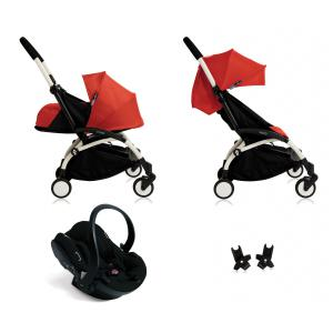 Babyzen - BU052 - Nouvelle poussette Babyzen Yoyo plus complète cadre blanc habillages 0+ et 6+ rouge et siège auto Babyzen Besafe noir (339480)