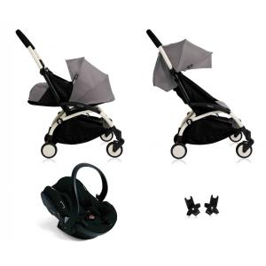 Babyzen - BU051 - Poussette Yoyo+ complète cadre  blanc habillages 0+ et 6+ gris et siège auto iZi Go Modular noir (339482)