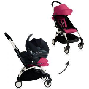 Babyzen - BU050 - Poussette Yoyo+ complète cadre  blanc habillages 0+ et 6+ rose et siège auto iZi Go Modular noir (339484)