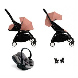 Babyzen - BU048 - Nouvelle poussette Babyzen Yoyo plus complète cadre noir habillages 0+ et 6+ ginger et siège auto Babyzen Besafe gris (339490)