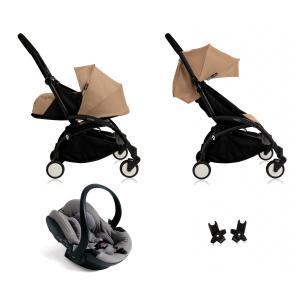 Babyzen - BU046 - Nouvelle poussette Babyzen Yoyo plus complète cadre noir habillages 0+ et 6+ taupe et siège auto Babyzen Besafe gris (339492)