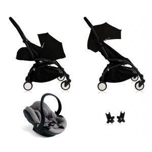 Babyzen - BU045 - Nouvelle poussette Babyzen Yoyo plus complète cadre noir habillages 0+ et 6+ noir et siège auto Babyzen Besafe gris (339494)