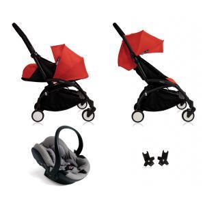 Babyzen - BU044 - Nouvelle poussette Babyzen Yoyo plus complète cadre noir habillages 0+ et 6+ rouge et siège auto Babyzen Besafe gris (339496)