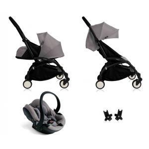 Babyzen - BU043 - Nouvelle poussette Babyzen Yoyo plus complète cadre noir habillages 0+ et 6+ gris et siège auto Babyzen Besafe gris (339498)