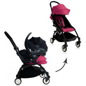 Babyzen - BU042 - Nouvelle poussette Babyzen Yoyo plus complète cadre noir habillages 0+ et 6+ rose et siège auto Babyzen Besafe gris (339500)