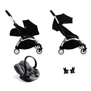 Babyzen - BU037 - Nouvelle poussette Babyzen Yoyo plus complète cadre blanc habillages 0+ et 6+ noir et siège auto Babyzen Besafe gris (339508)