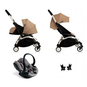 Babyzen - BU038 - Poussette Yoyo+ complète cadre  blanc habillages 0+ et 6+ taupe et siège auto iZi Go Modular gris (339510)