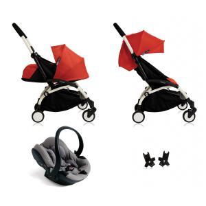 Babyzen - BU036 - Poussette Yoyo+ complète cadre  blanc habillages 0+ et 6+ rouge et siège auto iZi Go Modular gris (339512)