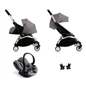 Babyzen - BU035 - Poussette Yoyo+ complète cadre  blanc habillages 0+ et 6+ gris et siège auto iZi Go Modular gris (339514)