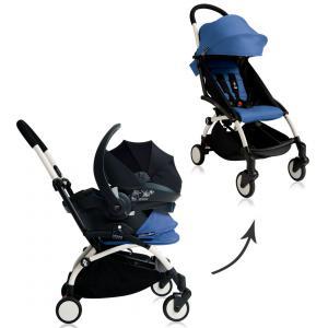 Babyzen - BU033 - Nouvelle poussette Babyzen Yoyo plus complète cadre blanc habillages 0+ et 6+ bleu et siège auto Babyzen Besafe gris (339518)