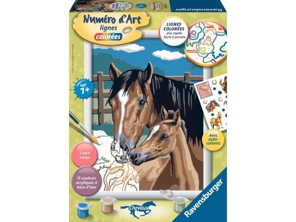 Numéro d'art moyen format - collection chevaux lignes colorées - jeu créatif - tendresse