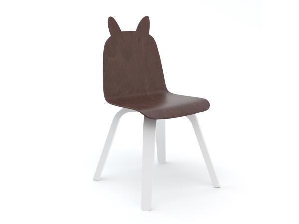 Lot de 2 chaises enfant play dossier lapin en noyer