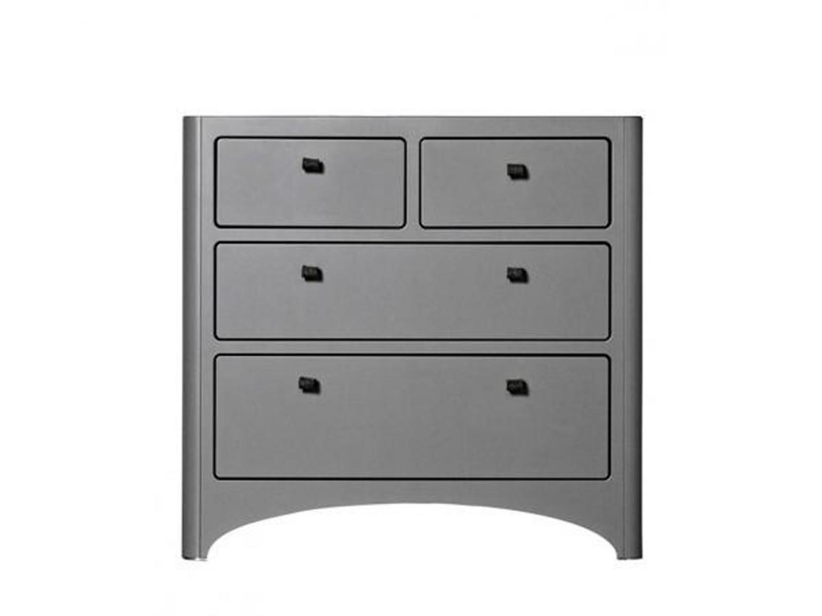 Leander commode 4 tiroirs grise - Commode grise tiroirs ...