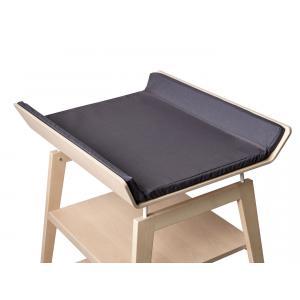 Leander - BU15 - Table à langer Linea  en hêtre naturel avec matelas et housse  Gris anthracite (342258)