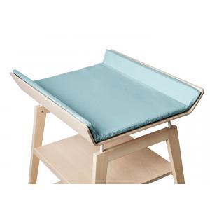 Leander - BU16 - Table à langer Linea  en hêtre naturel avec matelas et housse  Bleu pâle (342260)