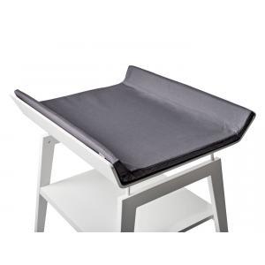 Leander - BU20 - Table à langer Linea  en hêtre blanc avec matelas et housse  Gris anthracite (342268)