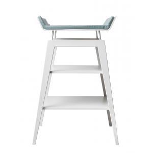 Leander - BU21 - Table à langer Linea  en hêtre blanc avec matelas et housse  Bleu pâle (342270)