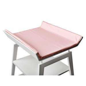 Leander - BU22 - Table à langer Linea  en hêtre blanc avec matelas et housse  Rose pâle (342272)