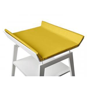 Leander - BU23 - Table à langer Linea  en hêtre blanc avec matelas et housse  Curry (342274)