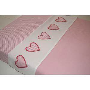 Taftan - LB-181 - Drap plats hearts checks pink 100 x 80 (342900)