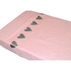 Taftan - LB-501 - Drap plats hearts silver pink 100 x 80 (342922)