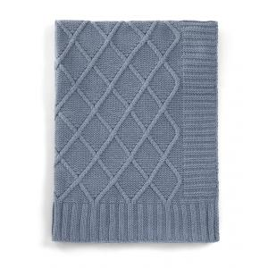 Mamas and Papas - 3924N0600 - Knitted Blanket - Denim Blue Cable Teal (346088)