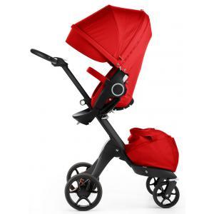 Stokke - 480004 - Poussette Xplory V5 Chassis noir avec siège Rouge, porte gobelet et ombrelle inclus (348764)