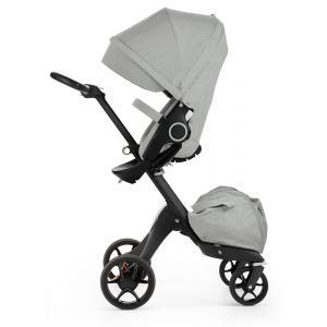 Stokke - 480003 - Poussette Xplory V5 Chassis noir avec siège Gris Mélange, porte gobelet et ombrelle inclus (348766)