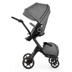 Stokke - 480001 - Poussette Xplory V5 Chassis noir avec siège Noir Mélange, porte gobelet et ombrelle inclus (348770)